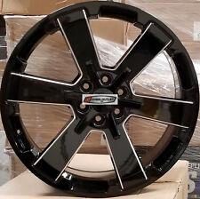 24 GMC Replica Wheels Black Milled Rims Yukon Sierra Chevy Tahoe LTZ Silverado
