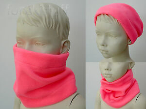 Infant scarf snood NECK WARMER baby girls NEON FLUORESCENT PINK hiVis Safety