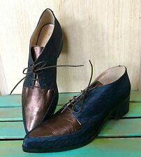 NIB Anthropologie Lenora Blue Bronze Fabric Leather Lace Up Oxford Shoes 38