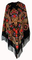 Authentic New Large Russian Pavlovo Posad Scarf Shawl Wrap 100% Wool 125x125cm
