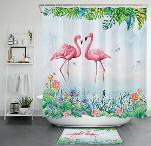 Summer Flamingo Butterfly Monstera Lotus Plant Waterproof Fabric Shower Curtain