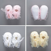 Newborn Baby Girl Lace Flower Crib Shoes First Walkers Prewalkers 0-3 3-6 6-9 M