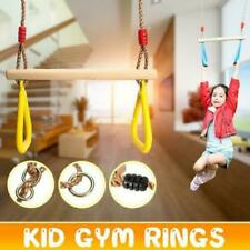 Children's Wooden Trapeze Bar Gymnastic Rings Kids Strength Gym Yoga Training