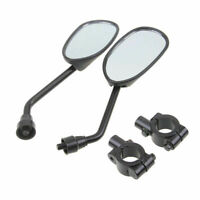 1 Pair Black Motorcycle Rear View Mirrors With Holder Clamps 8mm Bolt Universal