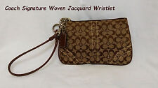 100% Authentic Coach Signature Woven Jacquard/Leather Khaki and Brown Wristlet