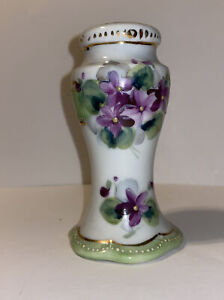 """Antique Vintage Hand Painted Porcelain Hat Pin Holder w/ Purple Flowers 4"""" Tall"""