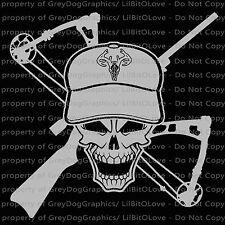 Hunter Skull with Crossbow & Rifle Deer Hunting Vinyl Decal Auto Sticker Hog