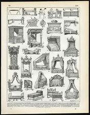 Antique Print-BEDS-HISTORICAL-SLEEPING-Larousse-1897
