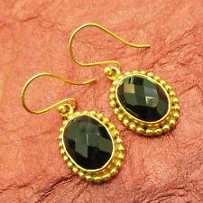 Lovely 925 Sterling Silver Gold Plated Black Onyx Pretty Dangle Earrings
