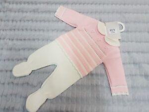 Pex SPANISH Knitwear 2pc top and pants set pink/ivory  Newborn