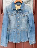 DKNY Vtg Fitted Denim Jean Jacket Womens Size Large L Blazer Coat Donna Karan NY