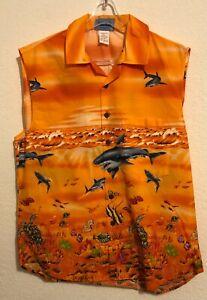 New Hawaiian Vintage Cotton Women's Sleeveless Shirt Orange Sharks Size Small