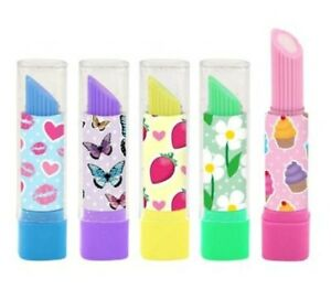 5 LIPSTICK ERASERS RUBBERS 5 colours butterfly cupcakes Party Bags toy girls