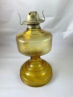 "Vintage 1970's Amber Embossed Glass 10"" Oil Lamp With Eagle Burner"