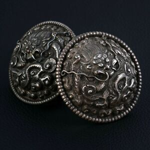 Two Earrings Silver IN Sets Of Dragon Xixth Century, China