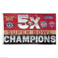 NFL San Francisco 49ers 5X Super Bowl Champs On The Fifty 3' X 5' Flag NEW!