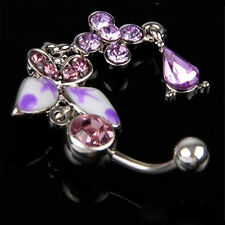 Rhinestone Body Jewelry Butterfly Bar Navel Belly Button Rings Belly Piercing