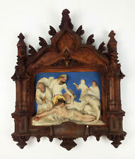 More details for superb antique french gothic religious plaque- church jesus cross plaster relief