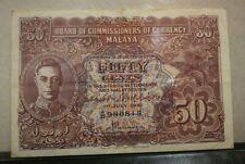 Malaya King George VI 50 Cents 1941  GVF
