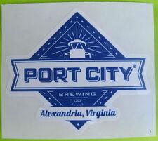 PORT CITY BREWING COMPANY small odd-shaped Beer STICKER, Alexandria, VIRGINIA