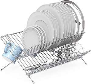 Collapsible Dish Drying Rack Counter Dish Drainer Organizer Large Plate Holder