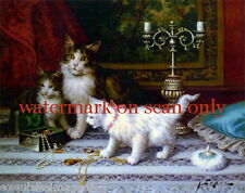 Vintg Art~Kitten~Cat~Cats~Kitty~Kittens~Calico~Play w Jewelry~NEW Lge Note Cards