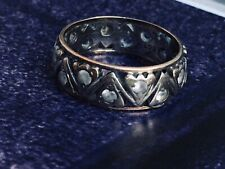 Antique Art Deco Size L eternity ring 9ct gold and silver Diamond Paste