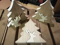 3 x Christmas Decorations Wooden Tree with Reindeer/Stag Rustic/Natural NEW