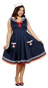 All Aboard Costume Womens Retro Navy Blue Sailor Fancy Dress Plus Size 3X-4X