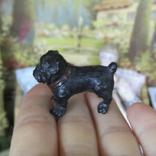 Antique Vtg Miniature CARVED WOOD PUG DOG Puppy Figurine Dollhouse Animal 1:16 ?
