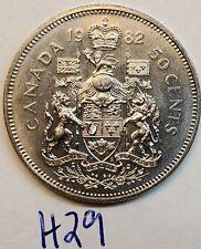 1982  CANADA Half Dollar ELIZABETH II 50 Cent Coin H29b