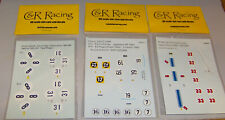 """""""NEW"""" OLD STOCK """"9"""" SHEETS OF C&R RACING HO DECALS (WATERSLIDE)"""
