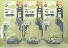 Philips AVENT Classic Fast Flow Teat 6 Months Baby Bottle Feeding BPA 2pk