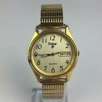 Pulsar Mens Quartz Gold Day Date Dial Stainless Steel Wristwatch 636720 Vintage