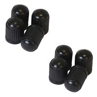 8 x Black Plastic Tyre Tire Alloy Wheel Dust Valve Caps Universal Car Bike Cycle