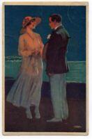 122020 BEAUTIFUL VINTAGE ROMANCE POSTCARD MAN AND WOMAN ON A BEACH AT NIGHT 1919