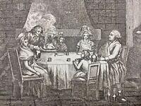 Marie Antoinette et Louis 16 1792 Dîner Prison rare Gravure Révolution Française