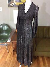 Vintage 70s DISCO Bobbie Brooks Metallic Sparkly High Neck V-Neck Maxi Dress M