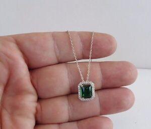 NECKLACE PENDANT 925 STERLING SILVER LADIES W/ 5.25 CT LAB DIAMONDS & EMERALD