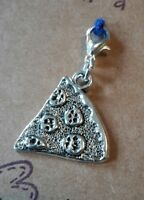 CLIP ON CHARM PIZZA SLICE FOR BRACELET KEYRING PURSE BAG ZIP