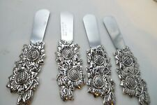 Lot 4 Stainless Steel Butter Cheese Dip Sunflower Silver Knives Spreaders Cutter