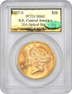 S.S. CENTRAL AMERICA:1857-S $20 PCGS/CAC MS65 (20A Spiked Shield, Gold Foil)