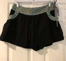 "New Free People  Skort Skirt Shorts BlackSz4 = 30""Side Zip /Tie Cotton"