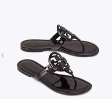 db5d99d0b Tory Burch NEW Miller Black Patent Leather Logo Flat Sandals RUNS .5 SIZE  SMALL
