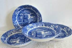 """SPODE BLUE ITALIAN Cereal BOWL SET OF 4 made in ENGLAND  6.5"""" New with Tag"""