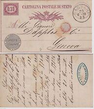 "# SASSARI 1878-CART. POSTALE DI STATO VIAGG.x GENOVA- TIMBRINO ""G.B. F.LLI COSTA"