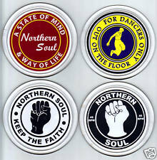 NORTHERN SOUL - SET OF 4 SOUVENIR NOVELTY ROUND COASTERS / BRAND NEW / GIFTS