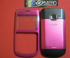 Kit Cover Guscio per NOKIA C3-00 +VETRINO + FLIP BATTERIA +Telaio Rosa Pink C300