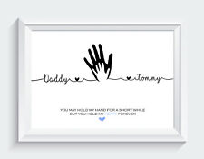Personalised Fathers Day Gifts Dad Daddy Daughter Son Hands Print ONLY Unframed