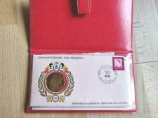 50ème anniversaire du Roi Baudoin, Médaille Vermeil et timbre
